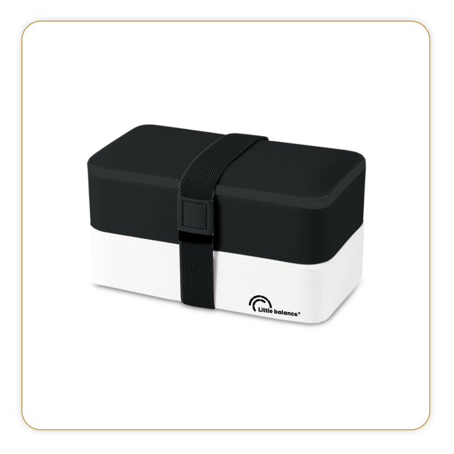 Lunchbox 2 étages - Noire et blanche