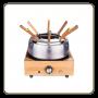 Service à fondue Luxe - bois et inox
